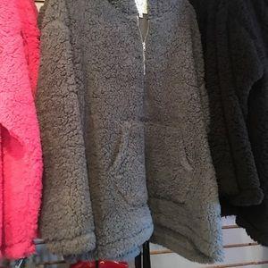 Soft Teddy Fuchsia Pink Plush Hooded Sherpa Coat